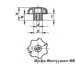 Рукоятка звездообразная DIN 6336 c внутренней резьбой М8 форма D