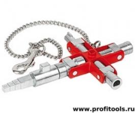 Универсальный ключ для строительства для распространенных шкафов и систем запирания KNIPEX 00 11 06 V01