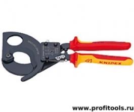 Кабелерез (ножницы для резки кабеля) по принципу трещотки KNIPEX 95 36 315 A