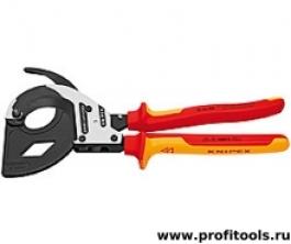 Кабелерез (ножницы для резки кабеля) по принципу трещотки KNIPEX 95 32 315 A