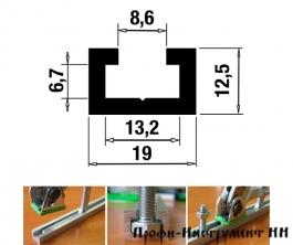 Профиль-шина 19 мм, анод., серебро матовое 1 метр TR019.1000